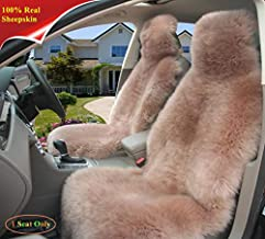Sisha Winter Warm Authentic Australia Sheepskin Car Seat Cover Luxury Long Wool Front Seat Cover Fits Most Car, Truck, SUV, or Van (Cameo Brown)