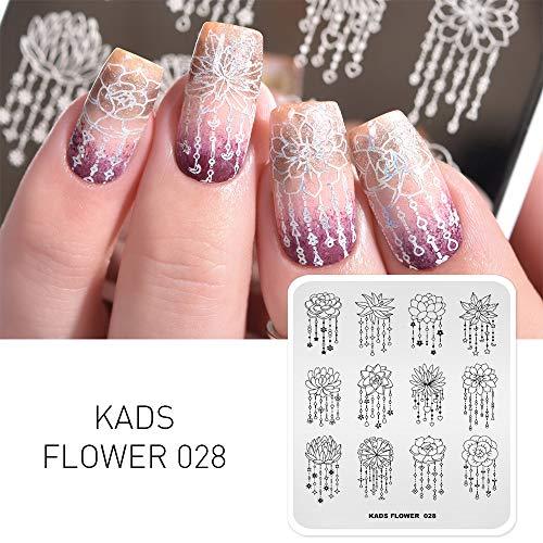 KADS New Nail Stamping Platte Blume Mode Natur Nail art Stempel Vorlage DIY Bild Vorlage Maniküre Stamp Platte Schablone Werkzeuge (FL028)