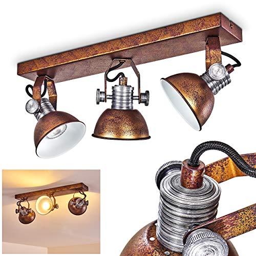 Deckenleuchte Gudo, dimmbare Deckenlampe aus Metall in Bronze/Weiß, 3-flammig, Lampenschirm dreh- u. schwenkbar, 3 x GU10-Fassung, max. 7 Watt, Spot im Retro-Design, für LED Leuchtmittel geeignet