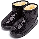 Boys Girls Winter Warm Snow Boots Sequin Fur Lined Waterproof Boot Glitter Princess Outdoor Shoes(Toddler/Little Kid)