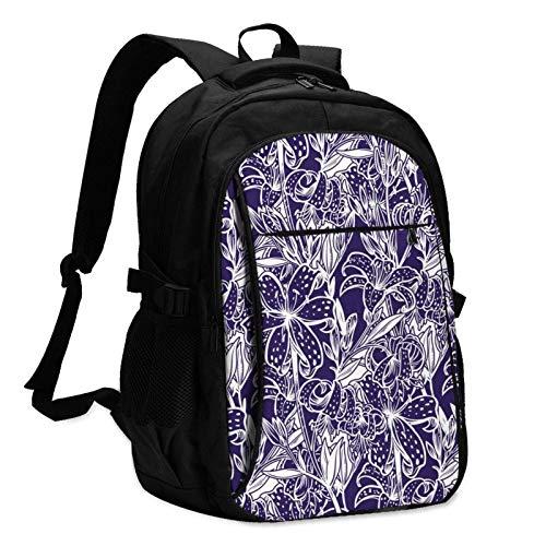 XCNGG Mochila USB con múltiples Bolsillos, Mochila Informal, Mochila Escolar Wild Lily Blossom Unisex Travel Laptop Backpack with USB Charging Port School Anti-Theft Bag