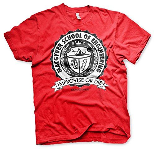 MacGyver Offizielles Lizenzprodukt School of Engineering T-Shirt(Rot), Medium