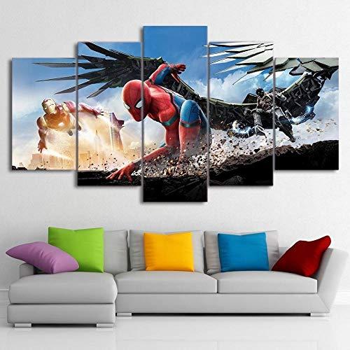 CGUKRTV Impresiones sobre Lienzo 5 Cuadros En Lienzo Modernos Salón Decoracion Murales Pared Lona XXL Grande Hogar Dormitorios Decor Cuadros Spider-Man: Vete A Casa