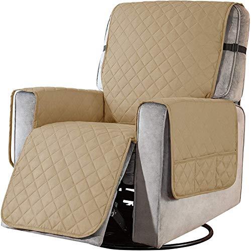Sesselschoner mit Taschen, Fernsehsessel Schutzbezug Anti-Rutsch, Relaxsessel Sesselauflage Relax,1 Sitzer Sesselauflage für Zuhause mit Kindern und Haustieren Hund ( Color : Sand , Size : Laege )