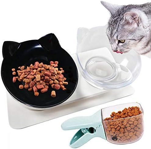 Legendog Cat Bowls 15 Tilted Cat Food Bowl Double Cat Dishes Cat Feeder Cat Feeding Bowl Raised product image
