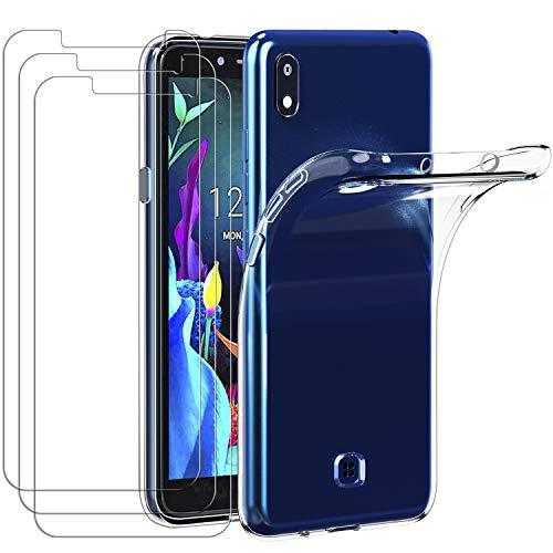 ivoler Hülle für LG K20 2019 + [3 Stück] Panzerglas, Durchsichtig Handyhülle Transparent Silikon TPU Schutzhülle Hülle Cover Premium 9H Hartglas Schutzfolie Glas für LG K20 2019
