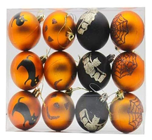 XIAOGING Halloween Home Decorations, Christmas Gold and Black Balls 6cm 12pcs Pendants Hanging Ornament Furnishing Scene Layout Matte Plastic Ball Baubles for Festival Holiday Home Decor