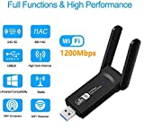WiFi Adapter, WLAN Stick 1200 Mbit/s Dual Band (5.8 GHz 867 Mbps/2.4 GHz 300 Mbps) Wireless WiFi Dongle 5dBi Antenna USB 3.0 für Desktop/PC/Laptop/Notebook/Windows/Mac