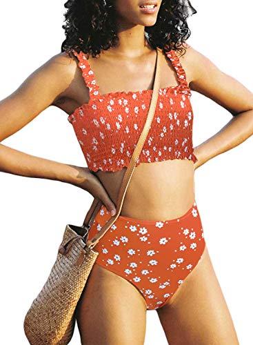 Aleumdr Women Summer Beach Cute Padded High Waist Strapless Fashion Smocked Bikini Sets...