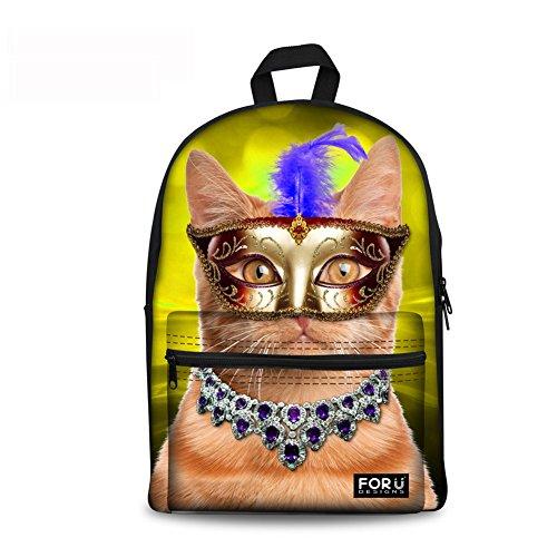 Injersdesigns Mochilas Casual Lona Máscara de Danza Gatos Mochila Bolsas escolares para adolescentes Bolsos de las muchachas Mochila de viaje para mujer (C0393J)