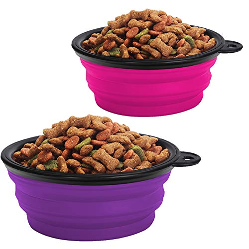 KIQ Pop-up Dog Bowl & Pet Bowl Collapsible Travel Silicone Camping/Hiking/Walking Crate Dish Bowl with Carabiner Clip [2 Cup Set] Travel-Size Folding Dog Portable (Pink/Purple, Large)