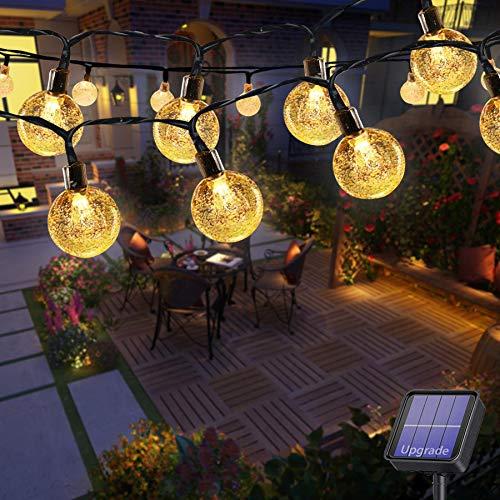 Lezonic Solar Lichterkette aussen, 50LED 23 ft 8 Modi Solar Kristallkugeln wasserdicht Außen/Innen Lichter Beleuchtung für Garten, Balkon,...