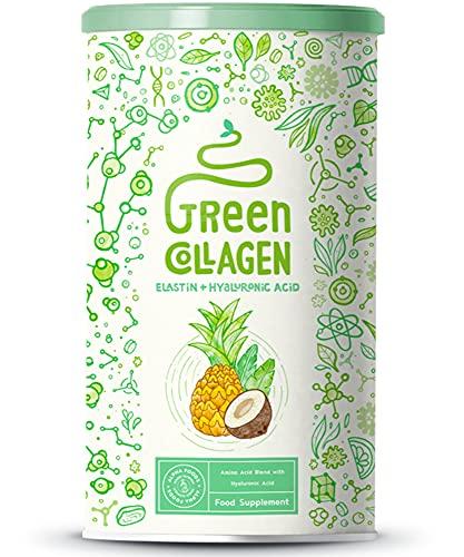 Collagene verde con elastina, acido ialuronico - Peptidi di collagene idrolizzato di tipo I, II e III - Elisir di bellezza ricco di nutrienti con probiotici - gusto Cocco & Ananas - 400g polvere