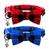 azuza Breakaway Kitten Collar with Bell, 2 Pack Safety Buckle Kitten Collars with Bowtie, Classic Plaid Design, Adjustable from 6'- 8'