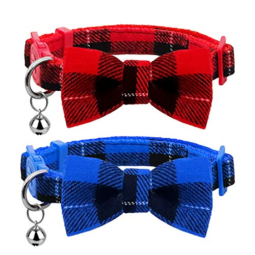 """azuza Breakaway Kitten Collar with Bell, 2 Pack Safety Buckle Kitten Collars with Bowtie, Classic Plaid Design, Adjustable from 6""""- 8"""""""