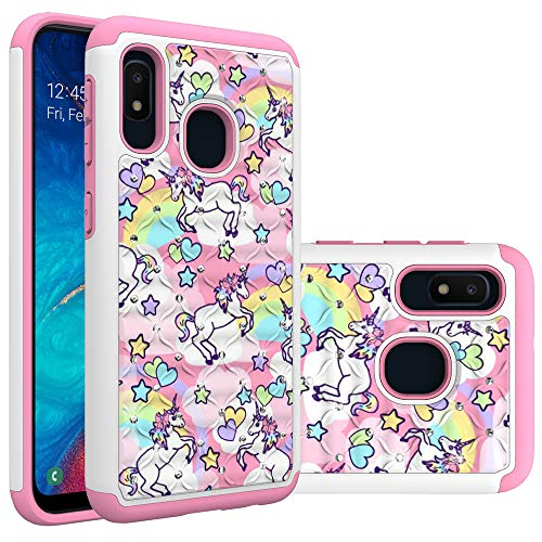 Samsung Galaxy A10e Case, Galaxy A20e Case for Girls Women, Rainbow Unicorn Pattern Heavy Duty Shockproof Studded Rhinestone Crystal Bling Hybrid Case Silicone Protective Armor for Samsung Galaxy A10e