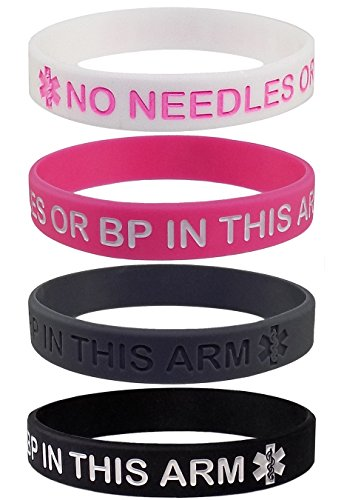 Max Petals Lymphedema Alert NO Needles OR BP This ARM Silicone Bracelet Wristbands (XL-8.5')