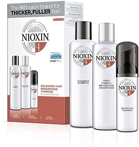 Nioxin Trial Kit de 3 Pasos Sistema 4 - Champú 150 ml, Acondicionador 150 ml y Tratamiento 50 ml [Empaque puede variar]