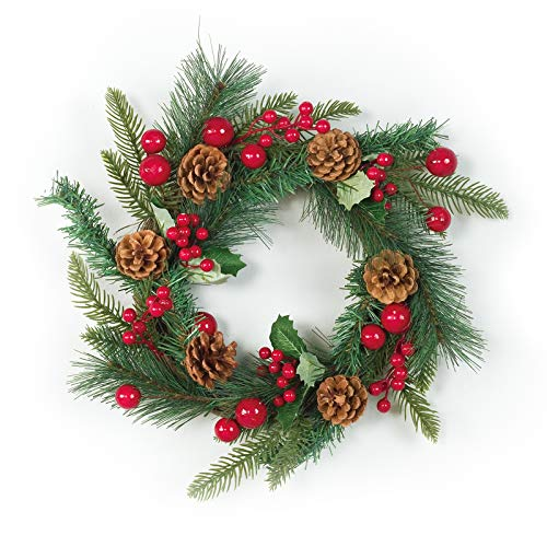 LecoDiy 15 Inch Winter Wreath with Pine Cones and Red Ornaments, Green Branches, for New Year's Day Front Door Decoration, Indoor & Outdoor Decor for Home Wall