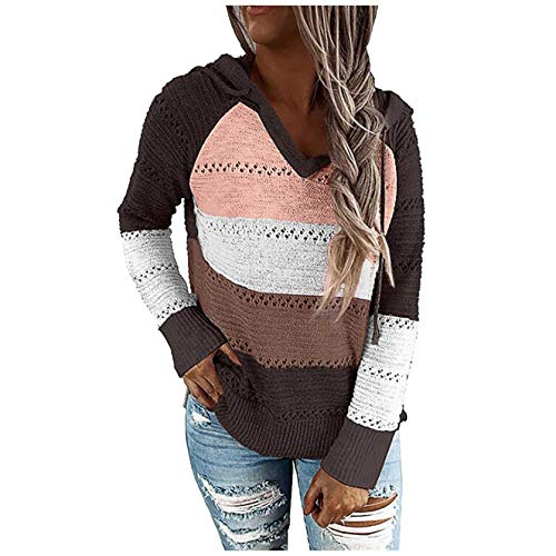 iHENGH Mode Damen Casual Patchwork V-Ausschnitt Langarm Kapuzenpullover Bluse Tops(Braun, M)