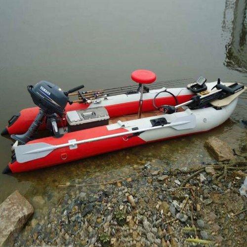 BRIS 14.1 FT Inflatable Kayak Fishing Tender Inflatable Poonton Boat with Air Floor