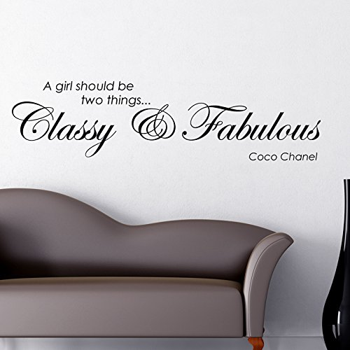 THE VINYL BIZ Classy and Fabulous Coco Chanel Wall Sticker. Words/Quotes WANDTATTOO WANDAUFKLEBER Wall Sticker Decals