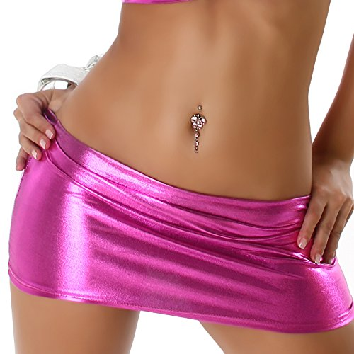 Jela London Damen Mini-Rock Wetlook Micro Latex-Optik Glanz metallic GoGo Rock kurz, Pink 38 (M)