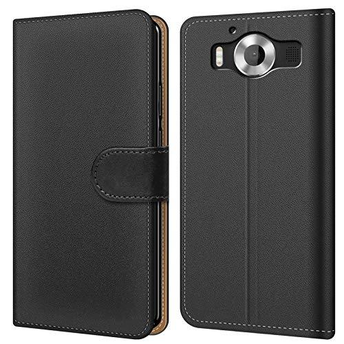 Conie BW20367 Basic Wallet Kompatibel mit Microsoft Lumia 950, Booklet PU Leder Hülle Tasche mit Kartenfächer & Aufstellfunktion für Lumia 950 Hülle Schwarz