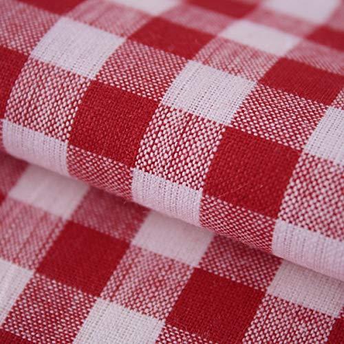 Hans-Textil-Shop Stoff Meterware Vichy Karo 1x1 cm Baumwolle Karomuster Kariert (Rot)