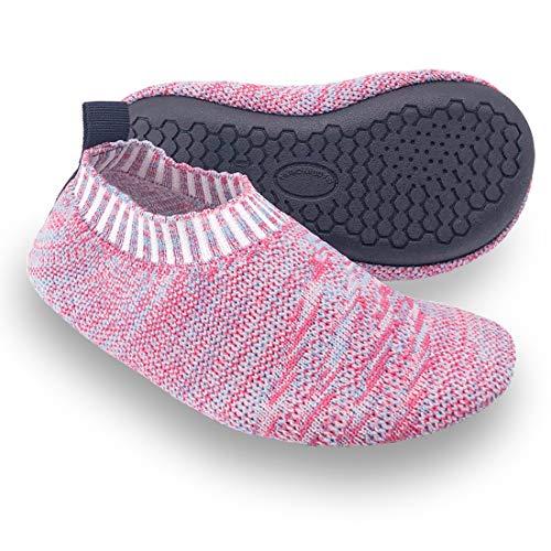 Dream Bridge Pantofole da Casa per Bambini Ragazzi Calzini Antiscivolo Scarpe Sportive con Suola in Gomma (Rosa)