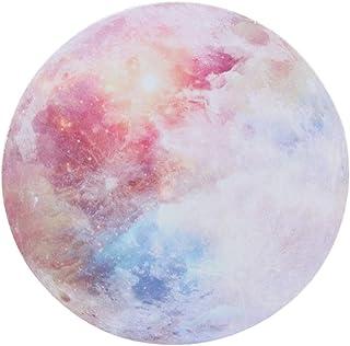 マウスパッド 惑星 宇宙 プラネット 丸型 おしゃれ 柔軟 かわいい ゴム製裏面 ゲーミングマウスパッド PC ノートパソコン オフィス用 円形 デスクマット 滑り止め 耐久性が良い おもしろい 星シリーズ (虹色の月)