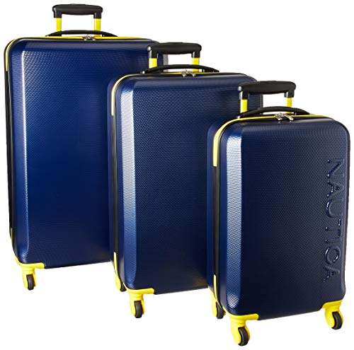 Nautica  3 Piece Hardside Spinner Luggage Set, Navy/Yellow, One