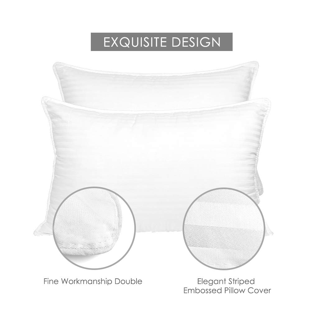 COZSINOOR Cozy Dream Series Hotel Quality Pillows for Sleeping [2 Pack] Premium Plush Fiber, Breathable Cooling Cover Skin-Friendly (Queen Size)