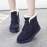 FBRR Botas para Mujer Botas de Nieve cálidas de Invierno Botas de Cuero de Terciopelo para Mujer Mujeres de Invierno Zapatos de Felpa (Color : WSH3132 Dark Blue, Shoe Size : 10)