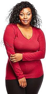 Bozzolo Womens Ladies Plus Size Curvy Cotton Basic V-Neck Long Sleeves Tops (2XL, Burgundy)