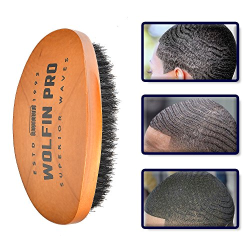 Wolfin Pro- Premium Curved 360 Wave Brush, 100% Natural Schima Superba Wood with Reinforced Pure Black Medium Boar Hair Bristle - Perfect for Wolfing, Creating 360 Layer Hair Waves, Cultivating Beards