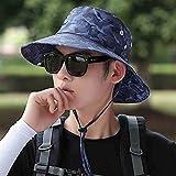 日曜日の帽子Sunhatの若者の帽子男性の夏の屋外のサイクリング日焼け防止キャップ迷彩バイザー男性釣り漁師の帽子キャップ(色:青、サイズ:54-60cm)