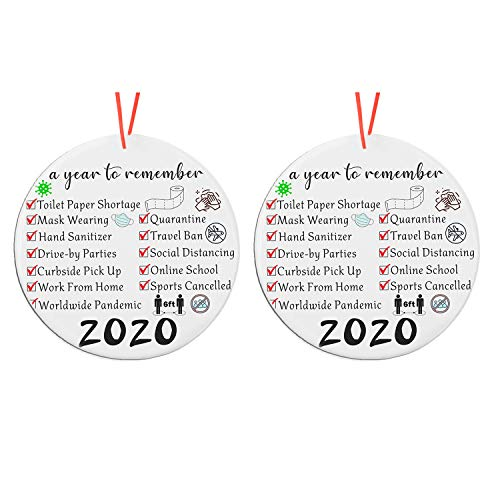 weispo 2PCS 2020 Christmas Ornament, Commemorative Ornament, 2020 A Year to Forget Ornament, Xmas Creative Round Ornament for Xmas Tree Ornament Hanging Accessories (C)