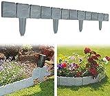DIY Grau Garten Rasen Zierzaun, Steinoptik Flexible Beeteinfassung Gartenzaun Umrandung, für Rasens oder der Terrasse Dekoration