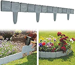 MEINIEM Garden Fence Edging, 10/20 pcs Stone Effect Plastic Palisade Fence, Cobbled Stone Effect Garden & Lawn Edging and Landscape Border, DIY Decorative Flower Grass Bed Border. (20 pcs, Gray)