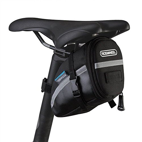 ROSWHEEL CestMall 1.2liter Bicycle MTB Cycling PU Saddle Bag, Waterproof Bike Bag Back Seat Pouch, Bicycle Repair Tools Pocket Pack with Reflective Stripes (New Black)