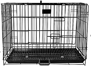 Pet Guard Double Door Folding Metal Dog Cage with Paw Protector Black (36 Inch)