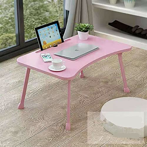 GXK Adjustable Computer Table Stand Tray For Bed Sofa Portable Folding Laptop (Color : Pink)
