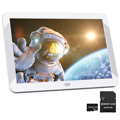 EastPoint Marco Digital 8 pulgadas, Marco Fotos Digital con Tarjeta SD 32GB y Control Remoto, IPS Pantalla de Alta Resolución 1920x1080, Reproductor de Foto/Música/Video/Despertador/Calendario, Blanco