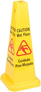 Two-Sided Wet Floor Caution Sign English/Spanish, Yellow, 27-Inch Cone Shape Plastic Sign, Caution Signs by Tezzorio