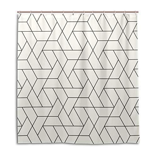 BIGJOKE Duschvorhang, geometrisch, dreieckig, schimmelresistent, wasserdicht, Polyester, 12 Haken, 167,6 x 182,9 cm, Heimdekoration