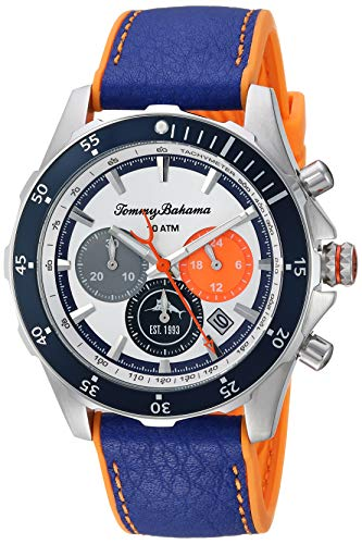 Tommy Bahama Men's Stainless Steel Japanese-Quartz Leather Calfskin Strap, Blue, 21.5 Casual Watch (Model: 37TB00098-02)