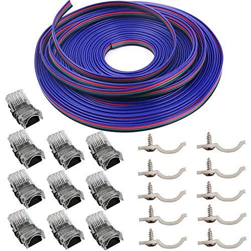 10 conectores LED de 4 pines para luces de tira de LED RGB 5050 a prueba de agua de 10 mm, conexión rápida de tira a cable sin pelar, incluye 16.4 pies, calibre 22, cable de extensión de 4 conductores