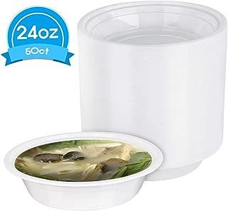 Disposable Plastic Soup Bowl, Compostable plate bowl - 50 count. (24 oz)
