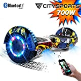 CITYSPORTS Hoverboard 6.5 Pouces Hover Board Bluetooth, Gyropode Self-Balance Board Moteur 700W avec Roues LED Flash,Skateboard Electrique Enfant Adult